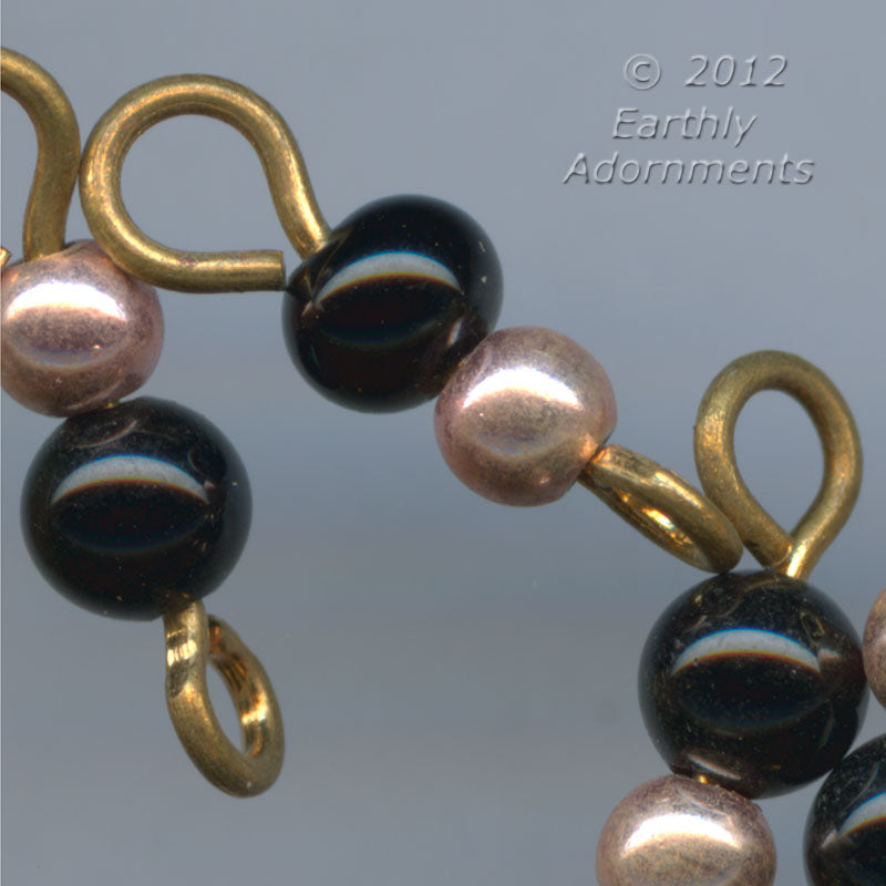 Vintage wired links of black glass and copper beads, Japan 14x4mm, package of 25. b11-bw-2029