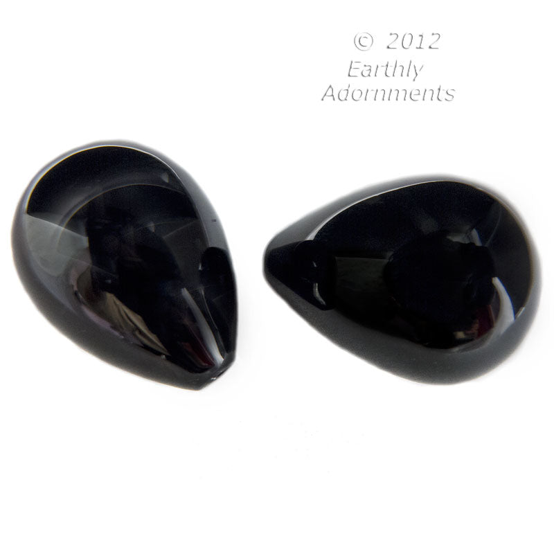 Vintage Art Deco large hollow jet luster one hole glass teardrop. 1920s France. 20x29mm - 18x25mm, 1 pc. b11-bw-2032(e)