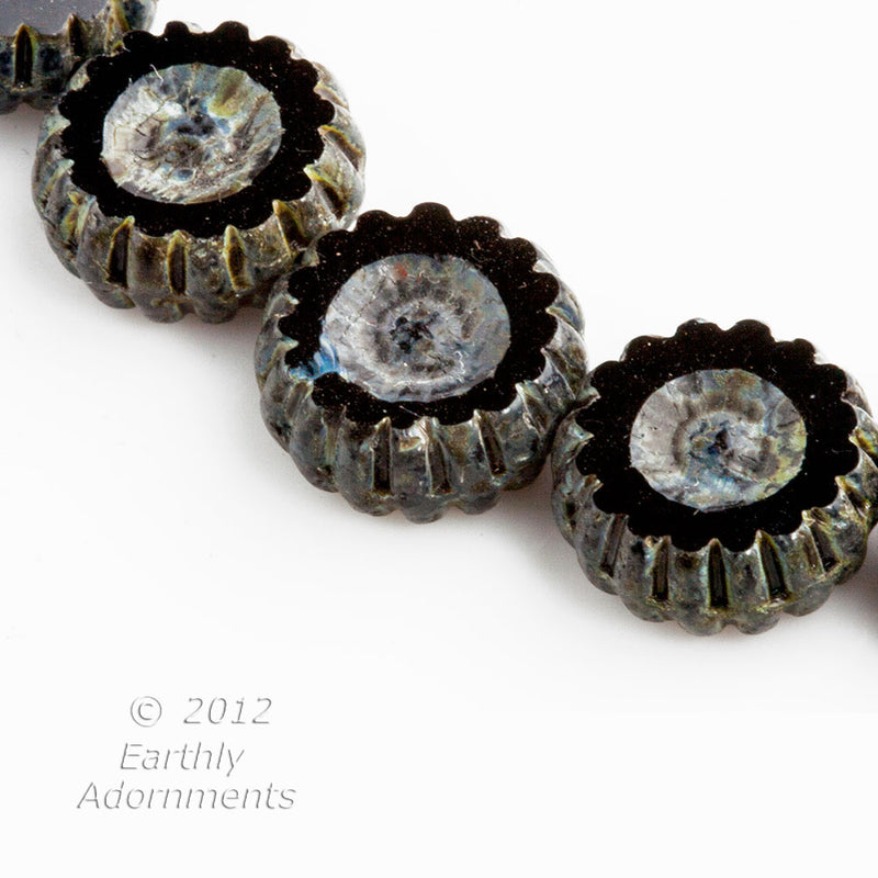 Contemporary black glass coin bead Czech. 12x5mm. Package of 10.