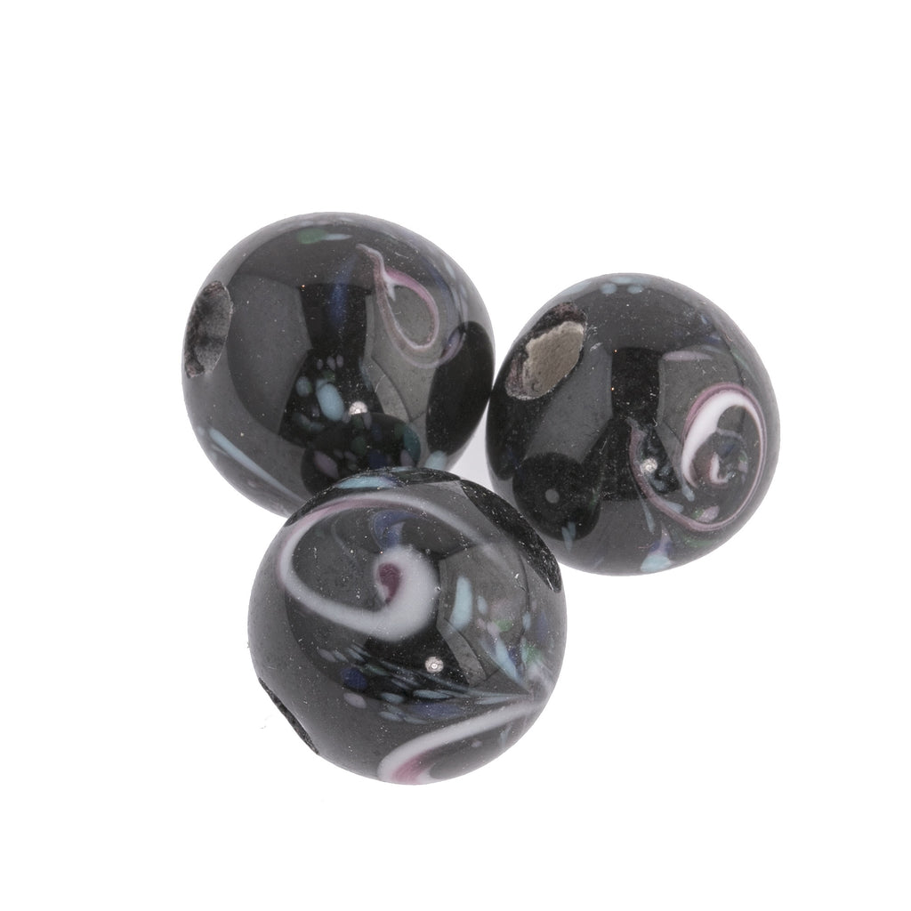 Vintage black millefiori lampwork glass round beads. 1960's. India. 16mm. Pkg1. b11-bw-2073