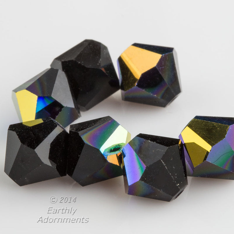 Vintage Swarovski Art. 5301 jet glass AB bicones. 8mm. Pkg of 12, b11-bw-2079