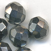 Hematite glass firepolish rounds. Pkg of 10. b11-bw-0805