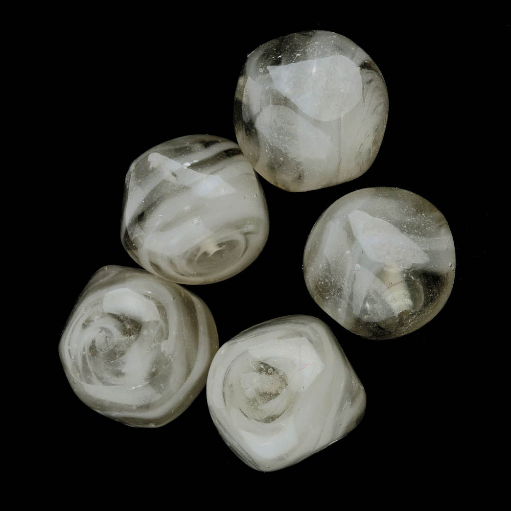 Vintage Venetian lampwork smoky 3 sided nuggets. Pkg of 2. b11-bw-0821