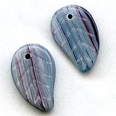 b11-bw-0895-Grey leaf pendant with magenta striations. Pkg of 10