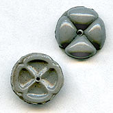 b11-bw-0898-Vintage glass dove grey button beads. Pkg of 4