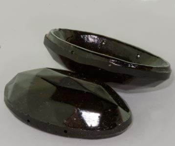 b11-bw-0917-Antique Bohemian glass 2 hole domed oval 47x28mm pkg of 2