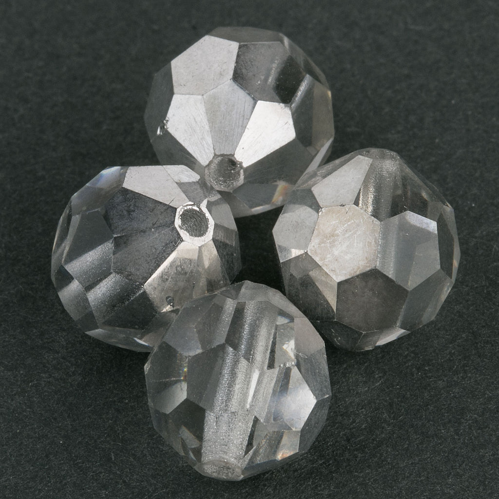 Vintage Czech machine cut crystal in silverine. 10mm. Pkg of 4. B11-CR-0390(e)