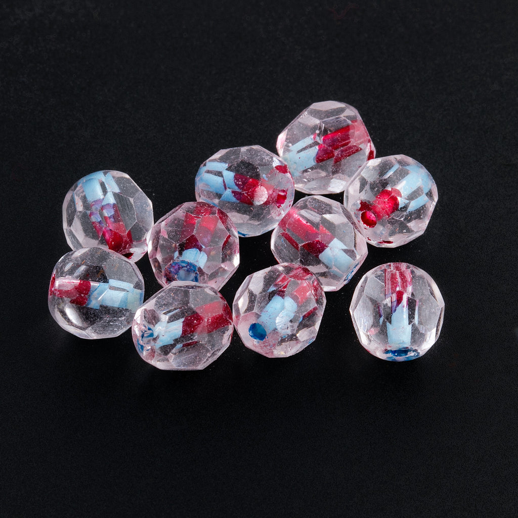 Vintage 1930s West German Clear Crystal Fire-Faceted Glass Rounds with Red and Turquoise Core. 7mm.  Pkg. of 10. b11-cr-0418