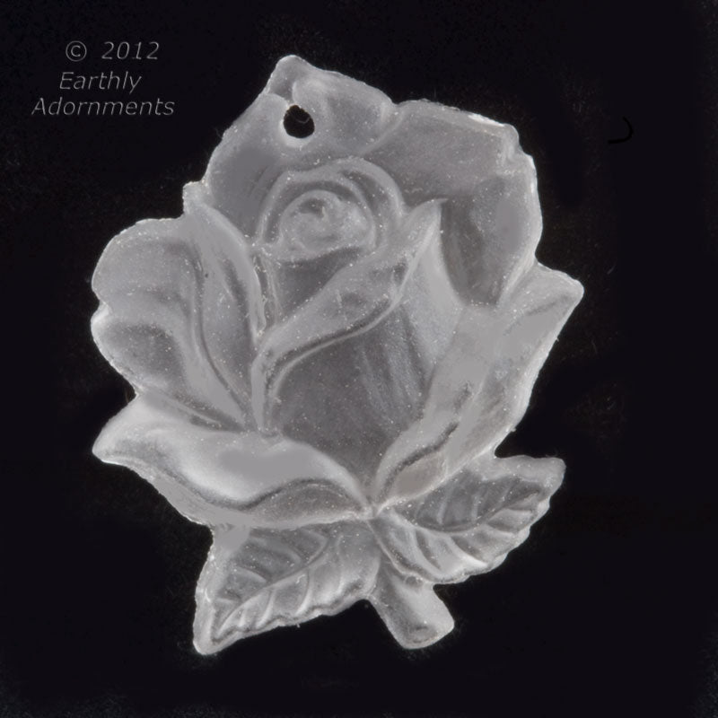 Vintage molded crystal matte glass rose pendant, Western Germany 32x25mm pkg of 1. b11-cr-0888