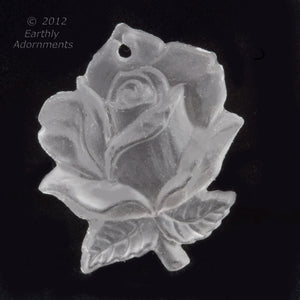 Vintage molded crystal matte glass rose pendant, Western Germany 20x16mm pkg of 1. b11-cr-0890