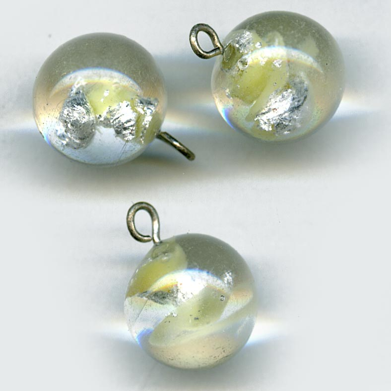 Vintage clear lampwork top drilled foiled bead with wire loop 12mm pkg of 2. b11-cr-0571(e)
