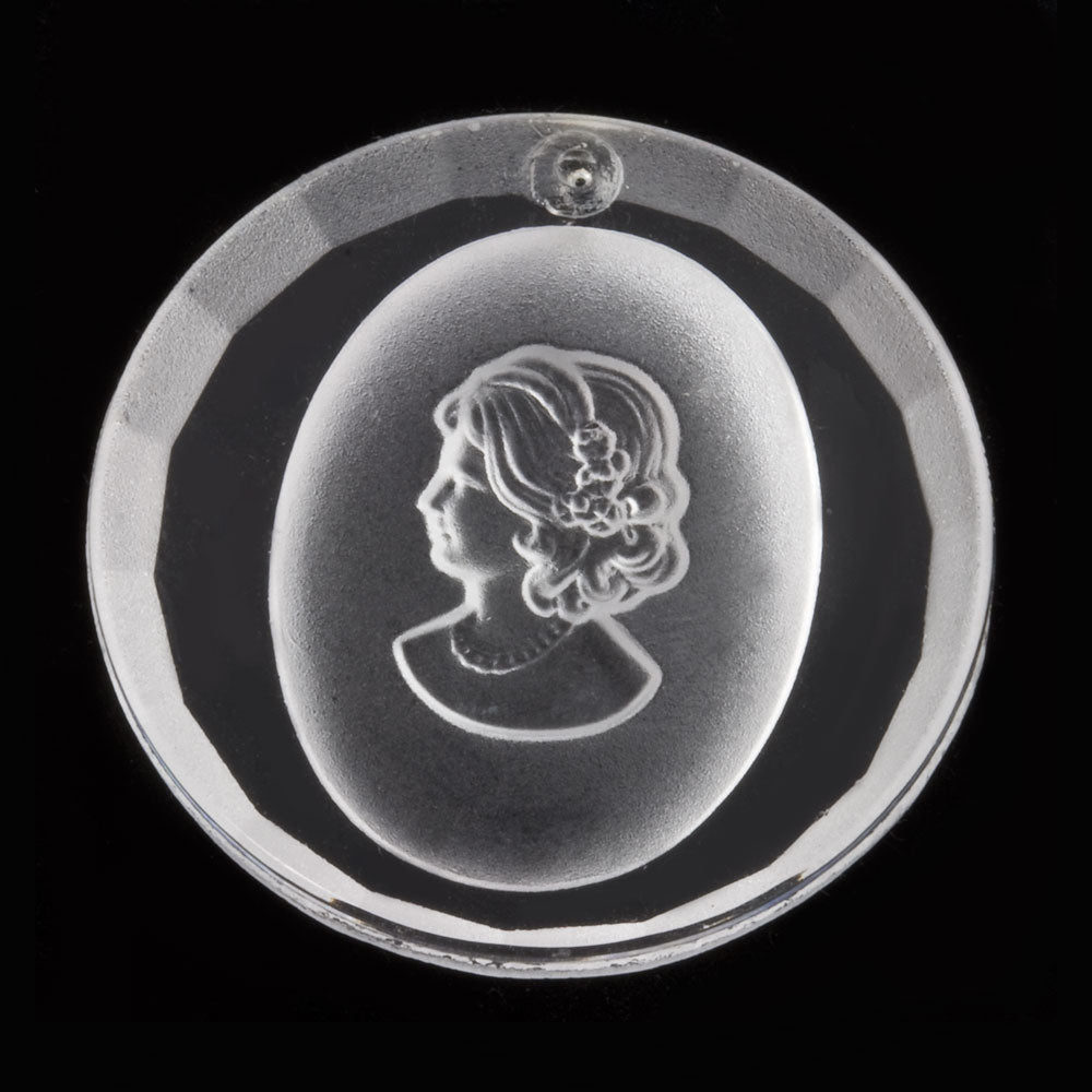 Vintage clear and frosted glass beveled cameo pendant. Western Germany. 32mm diameter. 1 pc. b11-cr-0894