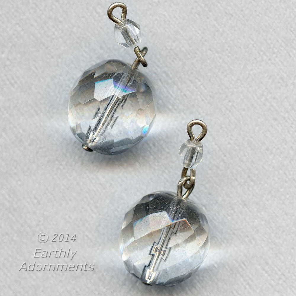 Vintage firepolish faceted clear glass two bead dangle. 13mm-4mm  Pkg. 6. b11-cr-0908