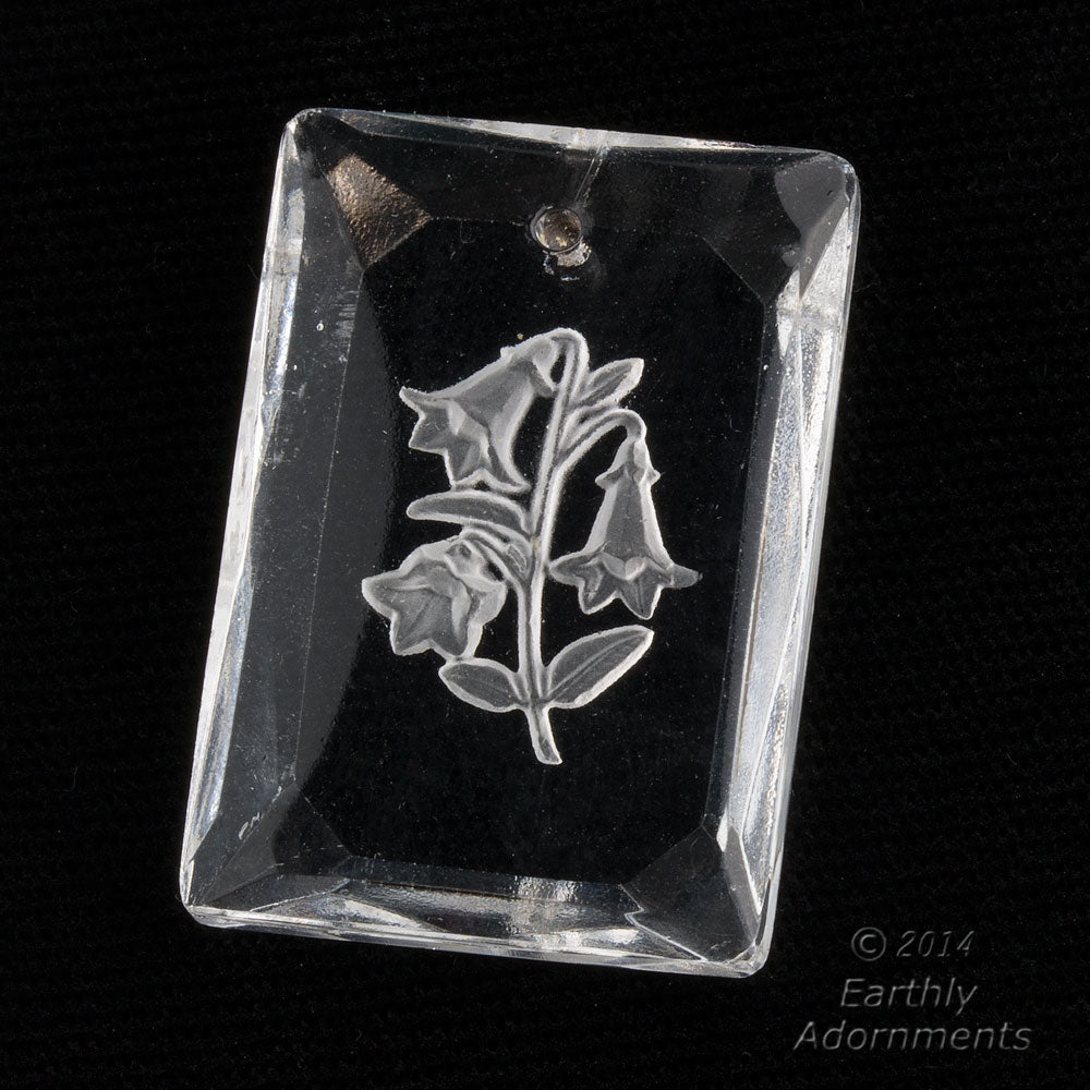 Vintage clear glass intaglio rectangle pendant with trumpet flower design.  b11-cr-0910
