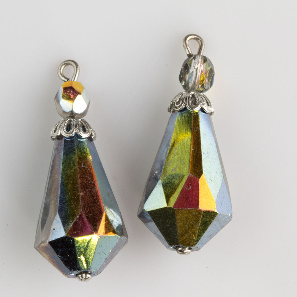Two bead faceted crystal aurora borealis teardrop pendant with silver bead cap. Pkg. of 2. b11-cr-0918