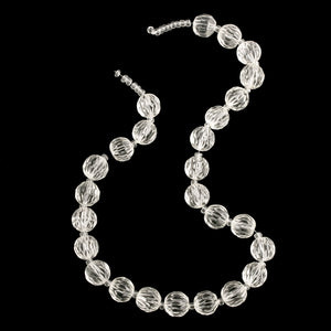 Vintage hand cut crystal  beads with unusual deep vertical groove facet. 26 beads 10.75mm. b11-cr-0927