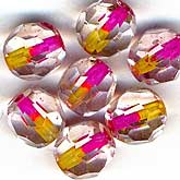 Vintage German crystal round with pink and yellow core. 7mm. Pkg of 10. b11-cr-0419