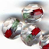 Vintage Pre-WWII German Machine-Cut Faceted Crystal Rounds.  Clear with Red and Green core. 7mm. Pkg of 10. b11-cr-0420