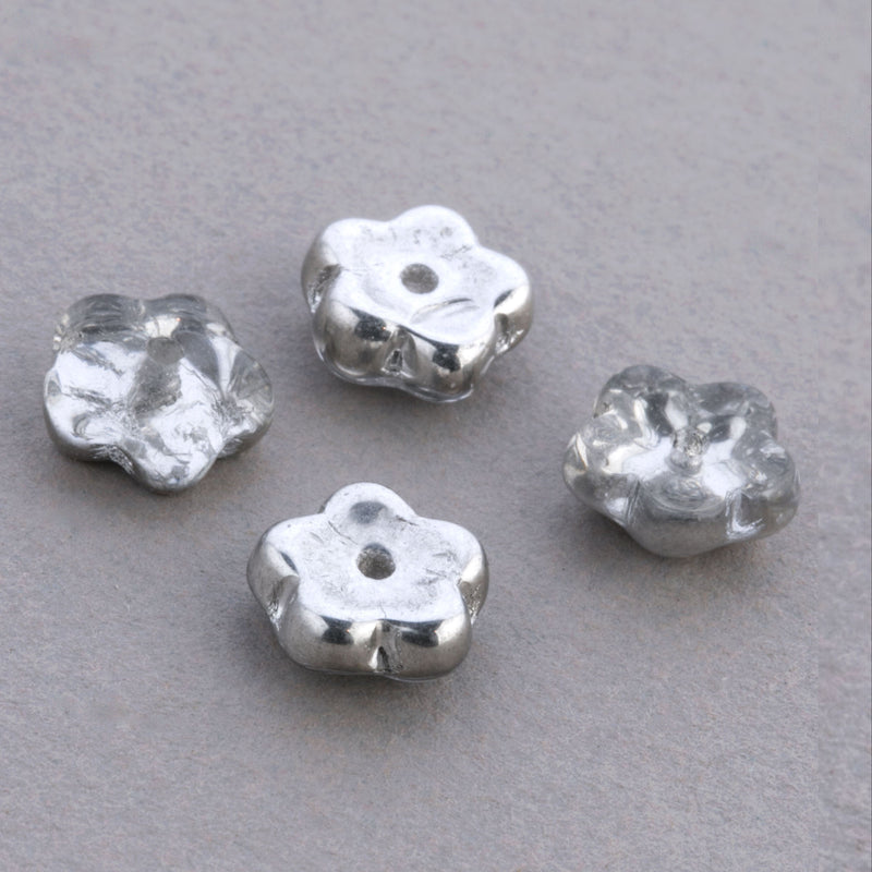 Vintage Transparent Glass Flower Bead with Silver Finish. 8x4mm. Pkg of 10. b11-cr-0428