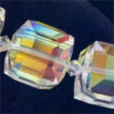 b11-cr-0446-Swarovski 14mm mm Faceted Cube (5601) - Crystal ABB. Pkg of 1