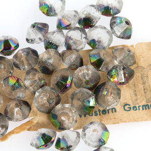 Vintage West German clear faceted bicone with vitrail finish. 6mm. Pkg of 20. b11-cr-0504-1