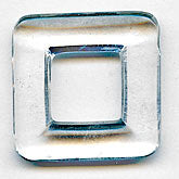 b11-cr-0513-Vintage clear glass square ring. 24mm sq Pkg of 2
