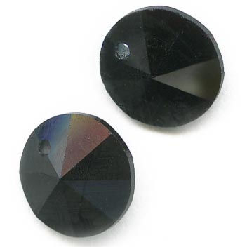 Vintage Swarovski rivoli Art. 6200 in Jet- 6mm pkg of 2. b11-cr-0545(e)