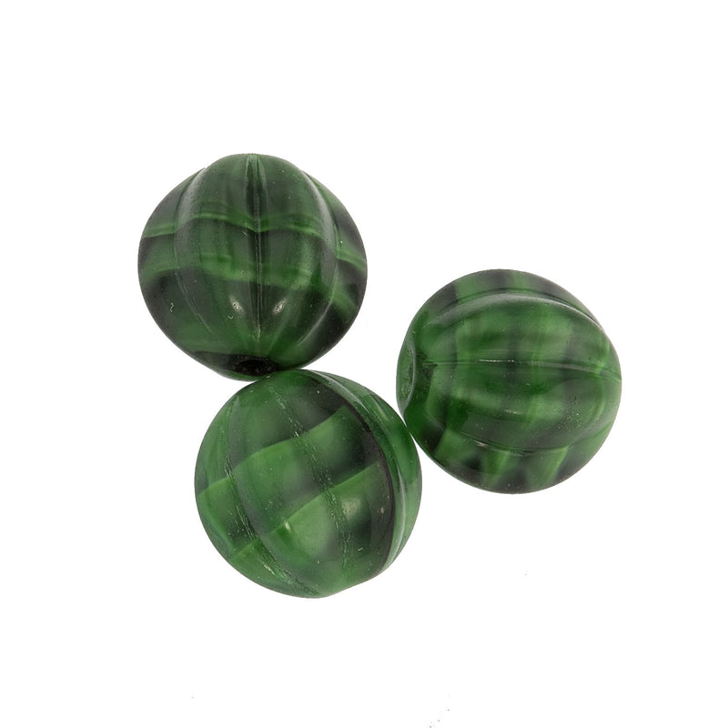 Czech green tortoise glass melon beads. 14mm. Pkg of 2. B11-GR-0588-4