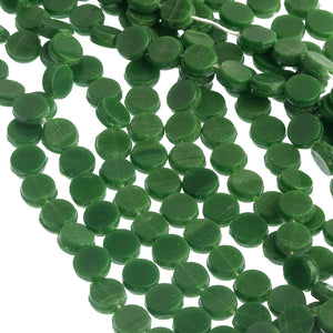 Antique Bohemian opaque green glass nailhead sequin beads 5mm. Strand of 22-23. B11-GR-0595
