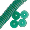 Vintage German chrysoprase green glass disks. 16x5mm. Pkg of 10. B11-GR-0605(e)