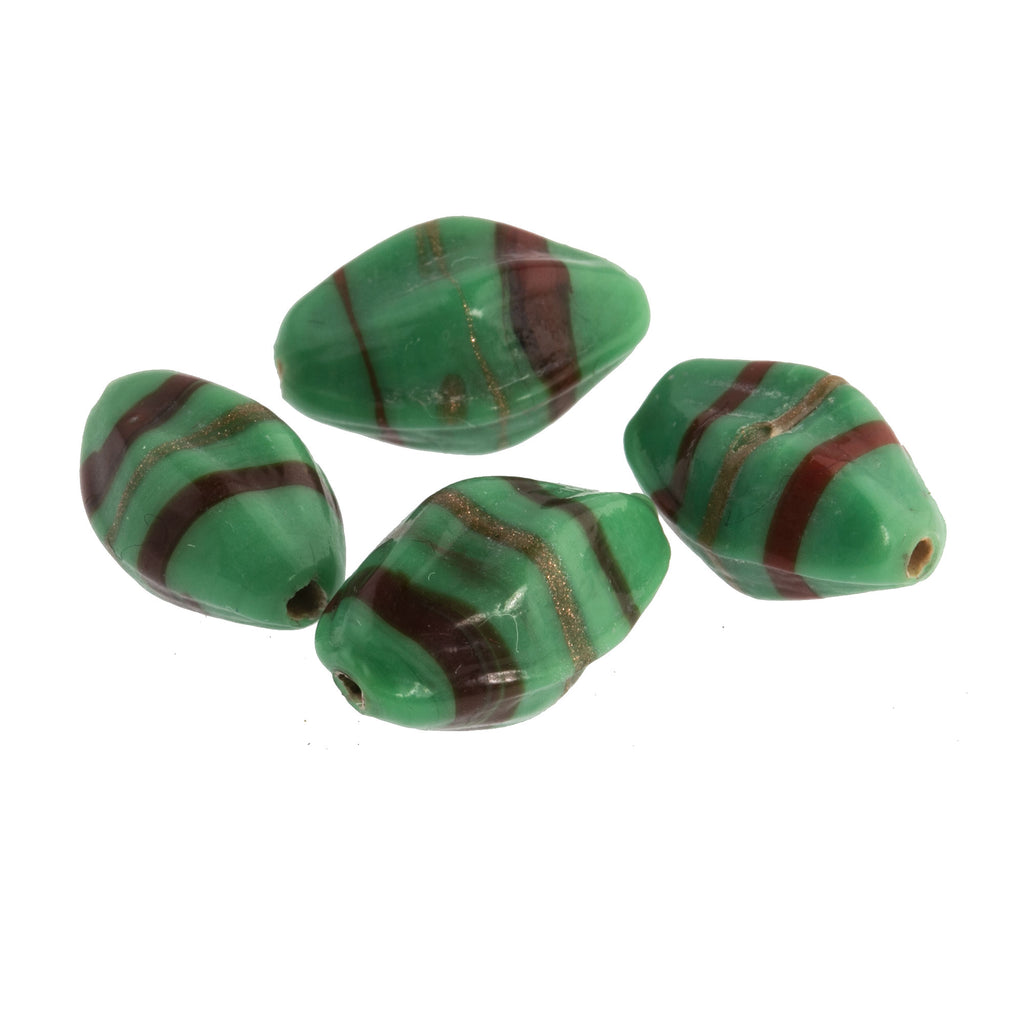 Vintage Opaque Green Glass Pinched Ovals with Red and Aventurine Stripes. India. 13-15mm. Pkg of 4. b11-gr-0620