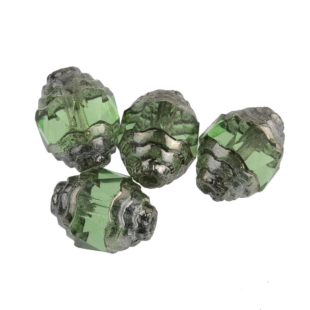 Czech 10 x 8mm Peridot green faceted glass oval with silvered circular edges. Pkg10 b11-gr-0748