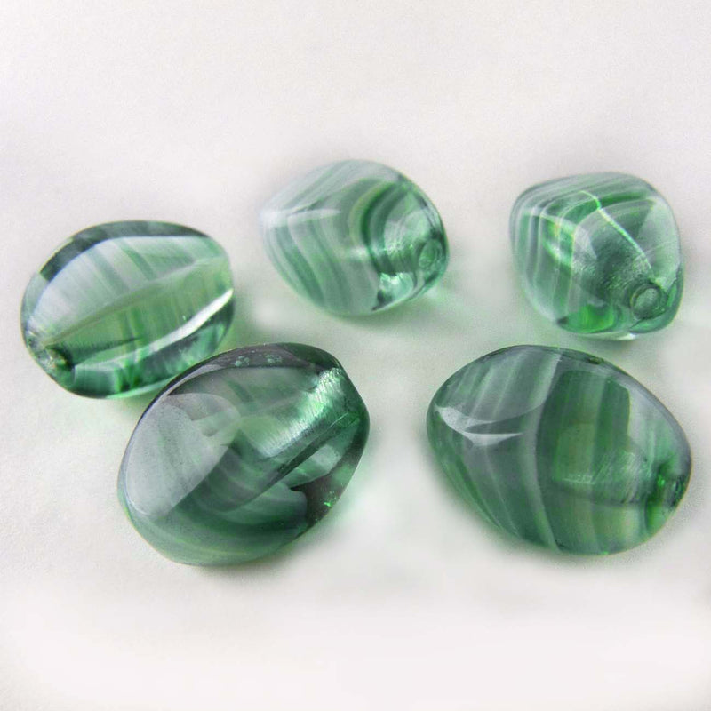 b11-gr-0765 Pinched Oval Beads White and Green. 10x8mm. Pkg of 10