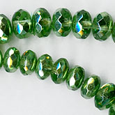 Olive green luster gemstone cut graduated 10mm x 5mm to 4mm x 2mm. 16.5 inch strand. b11-gr-0962(e)