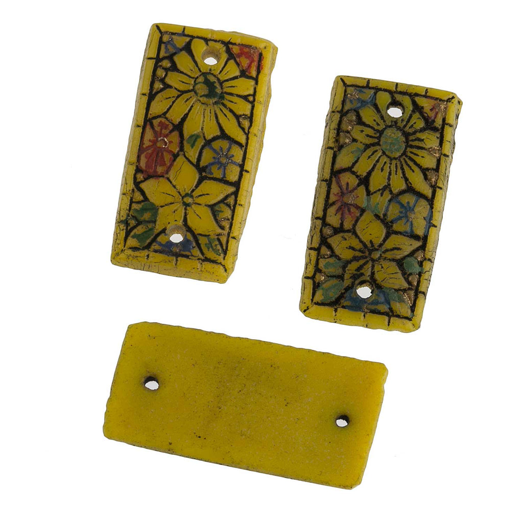"Vintage pressed glass ""mosaic"" rectangles with holes at each end. Czechoslovakia. 10x20mm. Pkg of 2. b11-gr-0963"