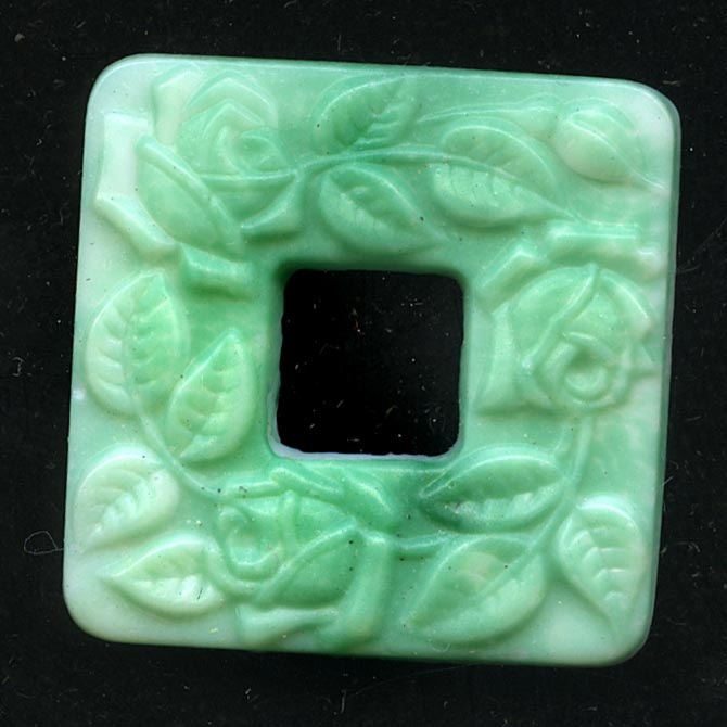 1920s Bohemian molded green on white glass square rings with vine pattern 24x24mm pkg of 1. b11-gr-1004