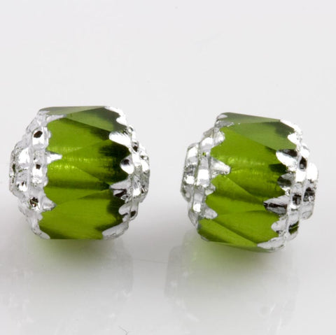 Czech Cathedral Beads olivine glass with silvered edges. 8mm. Pkg of 10. B11-gr-1011(e)