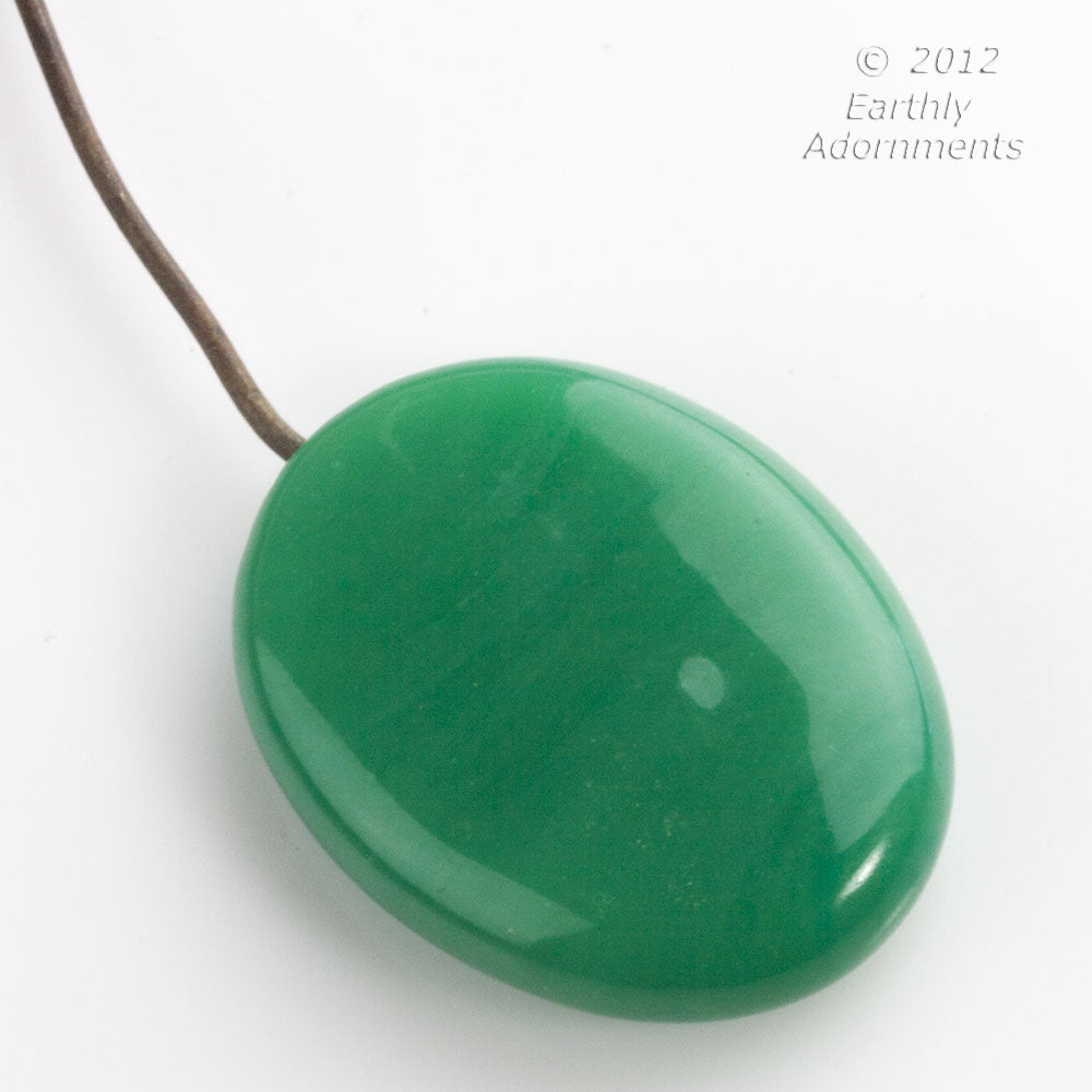 Vintage hand made jade green glass pendant with embedded wire, average 36x25x8mm. 1920s. B11-gr-2002