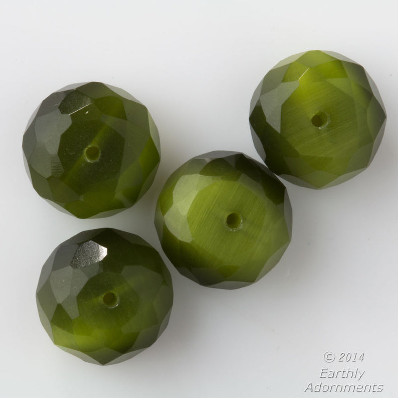Vintage fire polish gemstone cut, green satin glass beads. 15x10mm. Pkg of 6. b11-gr-2028