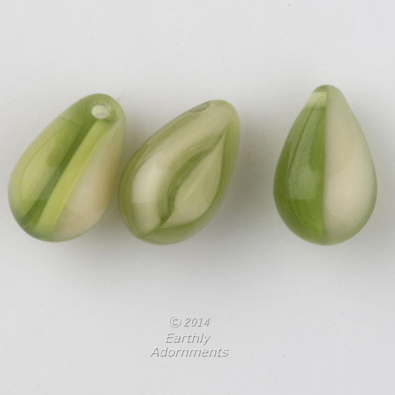 Vintage green and white givre teardrops. Hole front to back on the top. 10x6mm. Pkg of 10. b11-gr-2030