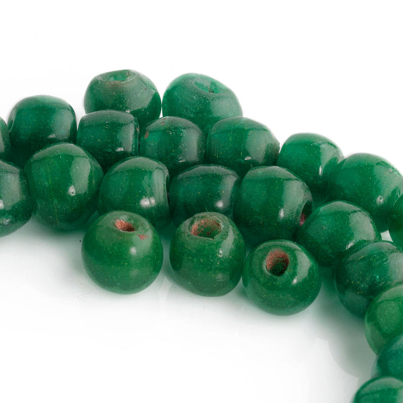 Antique Chinese opaque green jade Peking Glass beads 9x10mm Pkg 6  b11-gr-2043