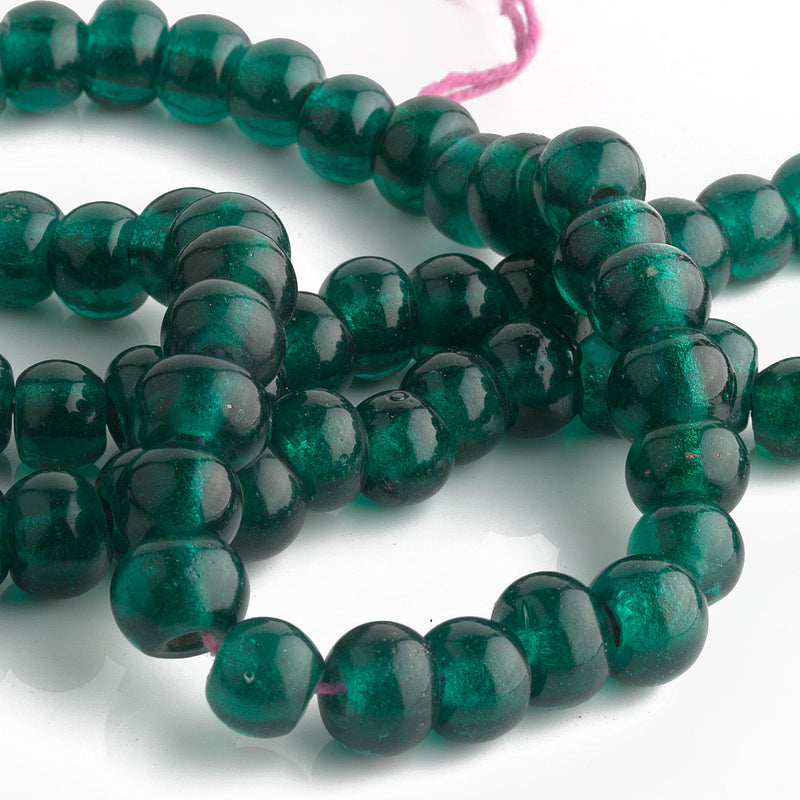 Antique Chinese translucent teal Peking Glass beads 8x10mm Pkg of 10. b11-gr-2044