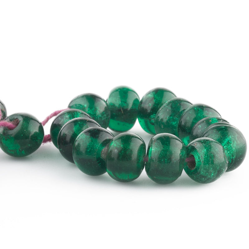 Antique Chinese translucent green Peking Glass beads 8x10mm. Pkg. of 10. b11-gr-2045