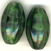 B11-GR-0586 Malachite Color Glass Fluted Oval Beads. 16x9mm. Pkg of 5