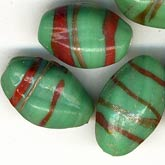 B11-GR-0620 Vintage green pinched ovals with red and aventurine stripes. India 13-15mm. Pkg of 4