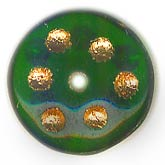 Vintage rondelles with gold dots. 10mm. Pkg of 10. B11-GR-0626-2(e)