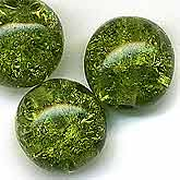 B11-GR-0721 Czech Crackle Glass Moss Green. 10mm. Pkg of 5