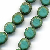 Turquoise Picasso-finish glass window beads. 8mm. Package of 6.