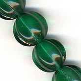b11-gr-0775-Emerald green melon bead. 12mm. Pkg of 5