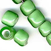 b11-gr-0820 French Whiteheats Transparent Green Bead. 6x7mm. Pkg of 10